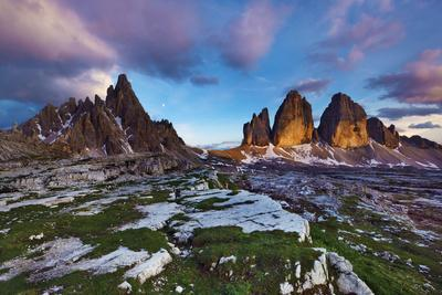 Paternkofel (Left) and Tre Cime Di Lavaredo Mountains at Sunset, Sexten Dolomites, Tyrol, Italy