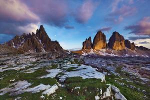 Paternkofel (Left) and Tre Cime Di Lavaredo Mountains at Sunset, Sexten Dolomites, Tyrol, Italy by Frank Krahmer