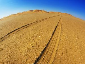 Tire tracks in the sand by Frank Krahmer