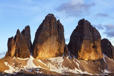 Tre Cime Di Lavaredo Mountain at Sunset, Sexten Dolomites, South Tyrol, Italy, Europe, July 2009