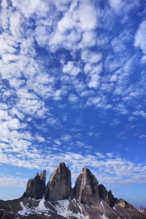 Tre Cime Di Lavaredo Mountains with Clouds, Sexten Dolomites, South Tyrol, Italy, Europe, July 2009 by Frank Krahmer