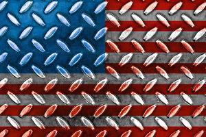 American Flag On A Diamond Metal Texture by Frank L Jr