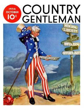 """Uncle Sam at the Crossroads,"" Country Gentleman Cover, October 1, 1936 by Frank Lea"