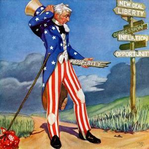"""""""Uncle Sam at the Crossroads,""""October 1, 1936 by Frank Lea"""