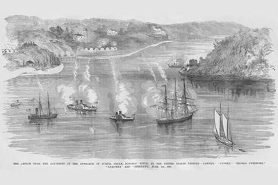 Us Naval Bombardment of Southern Batteries at Acquia Creek on the Potomac