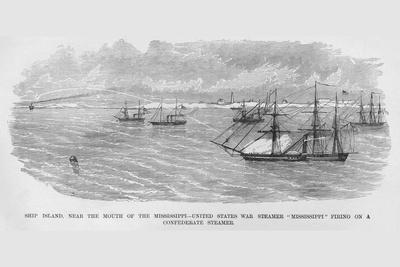"""Us War Steamer """"Mississippi"""" Fires on Confederate Vessel"""