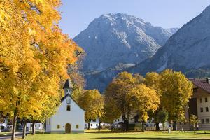 Austria, Tyrol, Ehrwald, Townscape, Chapel, Autumn by Frank Lukasseck
