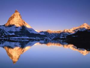 Matterhorn reflected in lake by Frank Lukasseck