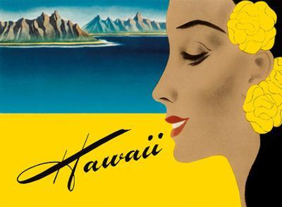 Ocean Liner to Hawaii - Luggage Decal, c.1940s