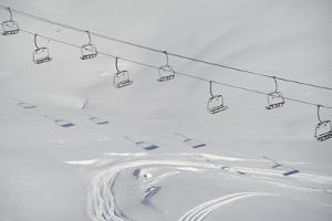 Ski Lifts in the Region of Bavarian Oberstdorf in Winter by Frank May