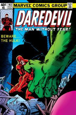 Daredevil No.163 Cover: Hulk and Daredevil Fighting by Frank Miller