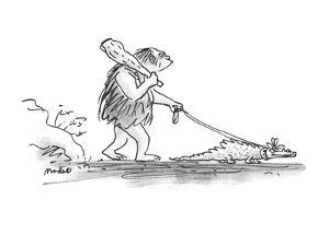 A caveman with a club walks his pet alligator on a leash. - New Yorker Cartoon by Frank Modell