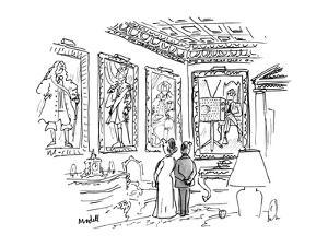 A man & a woman stand in an ornate room 13 in 18th century costume, one of… - New Yorker Cartoon by Frank Modell