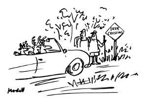 Deer are driving car while two human hikers look from side of road with 'D… - New Yorker Cartoon by Frank Modell