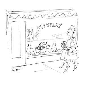 Dog in window of store called 'Petville' holds up 'Reduced' sign.  Woman a… - New Yorker Cartoon by Frank Modell