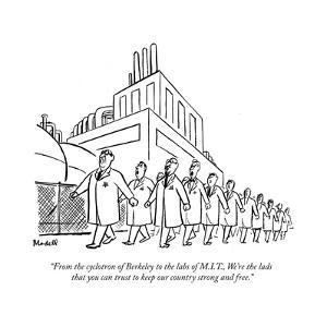 """""""From the cyclotron of Berkeley to the labs of M.I.T., We're the lads that…"""" - New Yorker Cartoon by Frank Modell"""