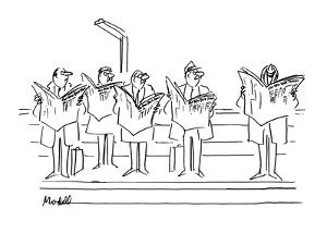 """Men looking angrily at man laughing at """"New  York Times"""". - New Yorker Cartoon by Frank Modell"""