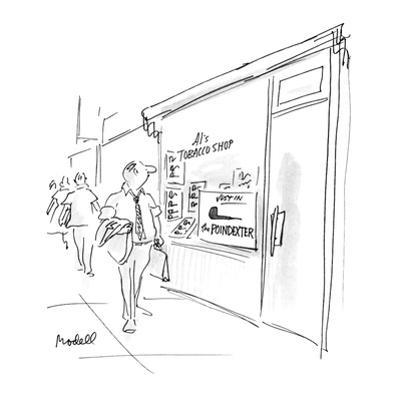 """Smoke shop advertising """"The Poindexter"""" pipe. - New Yorker Cartoon by Frank Modell"""