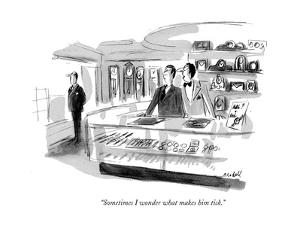 """""""Sometimes I wonder what makes him tick."""" - New Yorker Cartoon by Frank Modell"""