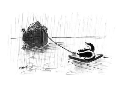 The ark with a small raft in tow with two skunks on it. - New Yorker Cartoon