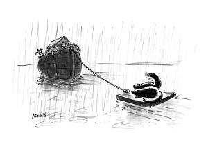 The ark with a small raft in tow with two skunks on it. - New Yorker Cartoon by Frank Modell