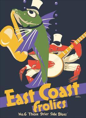 East Coast Frolics - London and North Eastern Railway - Fish Saxophone Crab Banjo by Frank Newbould