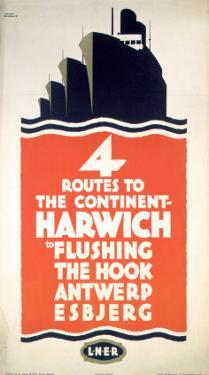 Four Routes to the Continent, LNER, c.1923-1947 by Frank Newbould