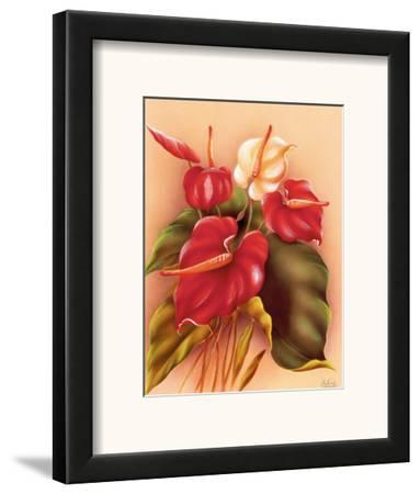 Hawaiian Red and White Anthuriums c.1940s