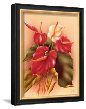 Red and White Anthuriums by Frank Oda