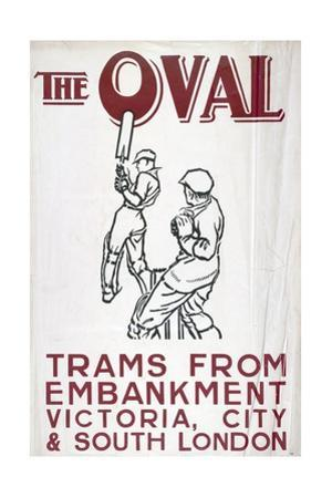 The Oval, London County Council (LC) Tramways Poster, 1930 by Frank P Restall