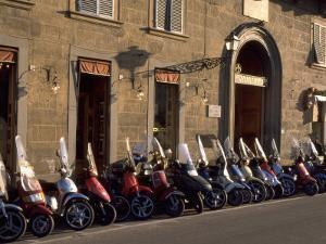 Scooters Lined Up Along Street, Florence, Italy by Frank Pedrick