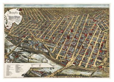 Bird's Eye View of Minneapolis, Minnesota, 1891 by Frank Pezolt