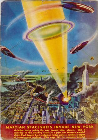 Martian Raiders Using a Terrible Weapon of Concentrated Sunlight Attack the City of New York by Frank R. Paul