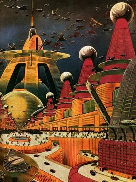Sci Fi - Future Atomic City, 1942 by Frank R. Paul
