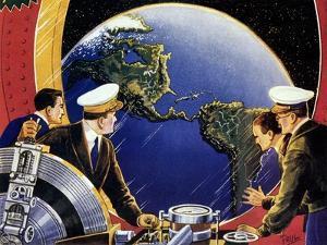Sci Fi - Steering Spaceship, 1933 by Frank R. Paul