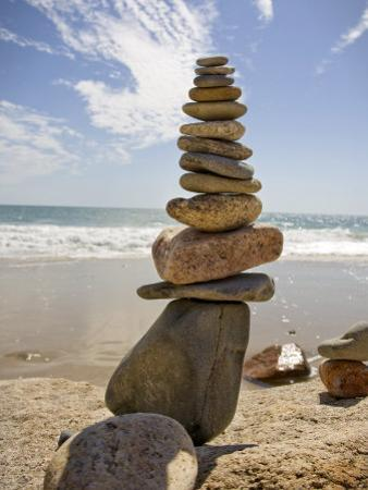 Rocks Balancing at the Beach, Aquinnah, Martha's Vineyard, Ma by Frank Rapp