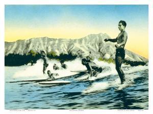 Sea Gods, Surf Riders at Waikiki, Hawaii c.1930 by Frank S^ Warren
