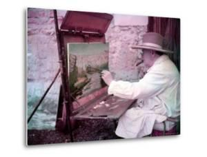 British Statesman Winston Churchill Painting a View of the Sorgue River While on Vacation by Frank Scherschel