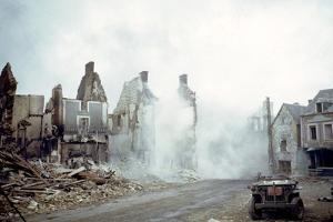 Combat Engineers Dynamite Dangerous Buildings Ruined in St. Lo, Normandy, France, 1944 by Frank Scherschel