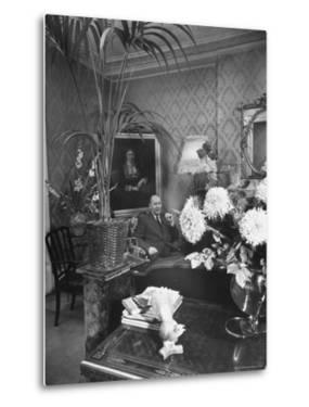 Dress Designer Christian Dior at Home in His Living Room by Frank Scherschel