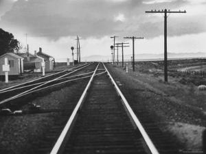 Excellent of Southern Pacific Railroad Tracks Stretching Off Into the Distance by Frank Scherschel