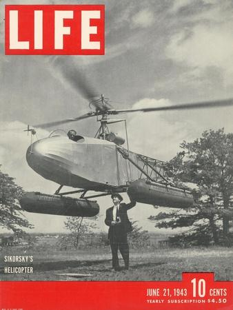 Igor Sikorsky with Pilot Les Morris at the Controls of Sikorsky's Helicopter, June 21, 1943