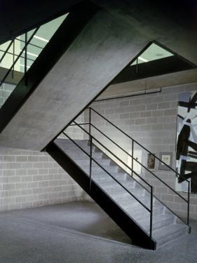 Stairway in Unidentified Building Designed by Mies Van Der Rohe. Chicago, Illinois 1956 by Frank Scherschel