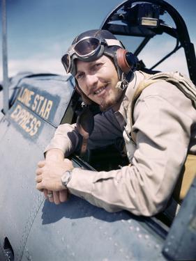 U.S. Bomber Pilot Portrait Stationed at Midway Atoll. 1942 by Frank Scherschel