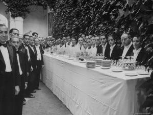 Waiters and Bartenders Waiting to Serve at the Alba Wedding by Frank Scherschel