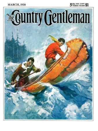 """""""Canoeing Through Rapids,"""" Country Gentleman Cover, March 1, 1930"""