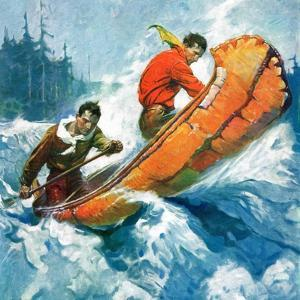 """Canoeing Through Rapids,""March 1, 1930 by Frank Schoonover"