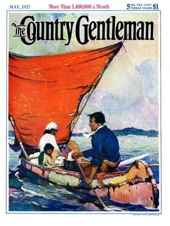 """""""Family in Canoe,"""" Country Gentleman Cover, May 1, 1927"""