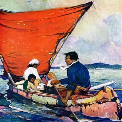 """""""Family in Canoe,""""May 1, 1927"""