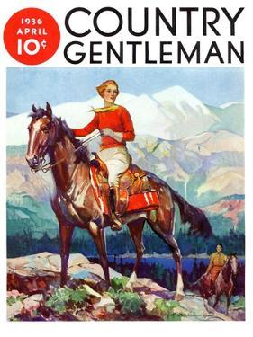 """""""Mountain Trail Ride,"""" Country Gentleman Cover, April 1, 1936 by Frank Schoonover"""